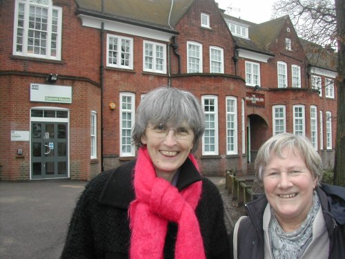 Photo : Jackie Meldrum & Jane Pickard at site of new school