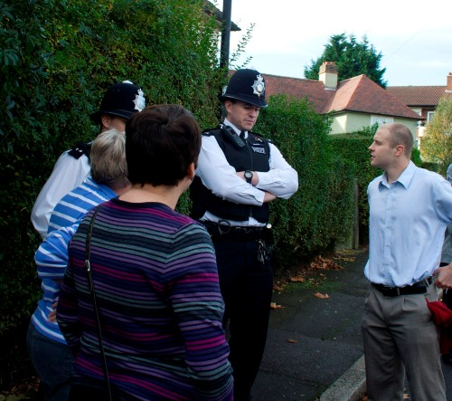 Cllr Mike Smith with Knights Hill Safer Neighbourhood Team