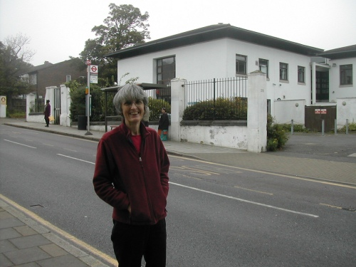 Local councillor , Jackie Meldrum, outside 210 Knights Hill