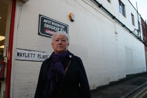 Ann Kingsbury outside the Snooker club