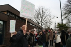 Local residents supporting the re-opening of West Norwood Library .