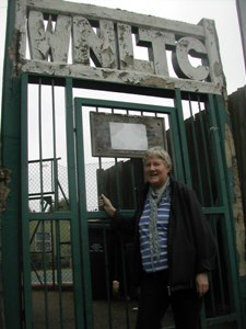 Cllr Jane Pickard at tennis club gate