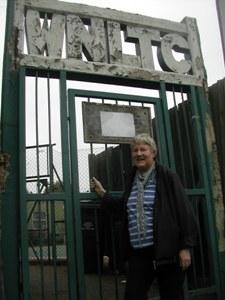 Cllr Jane Pickard at tennis club gate