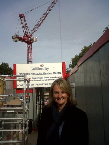 Lib Peck visiting new leisure & health centre construction site