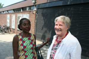 Sonia Winifred & Jane Pickard outside site of new cinema