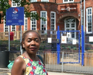 Sonia Winifred outside Julian's Primary School