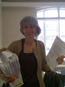 Cllr Jackie Meldrum with petitions