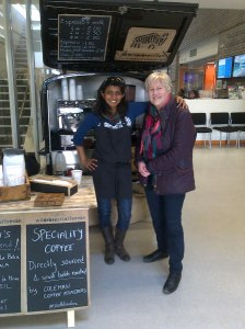 Cllr Jane Pickard at coffee van