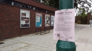 Planning notice outside Nettlefold Halls