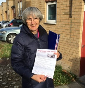 Jackie Meldrum delivering leaflets