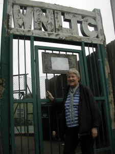 Cllr Pickard at the Tennis Club gates